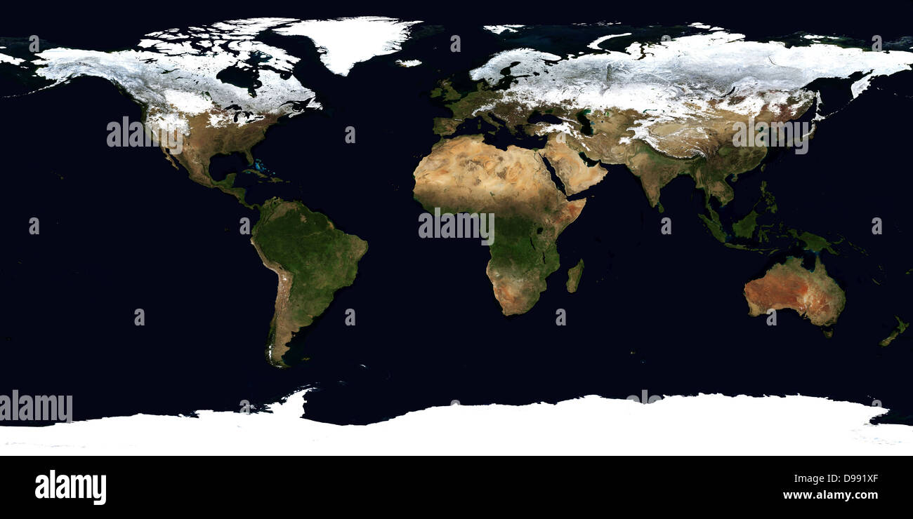 World Flat Projection Map From Composite Of Satellite Images Credit