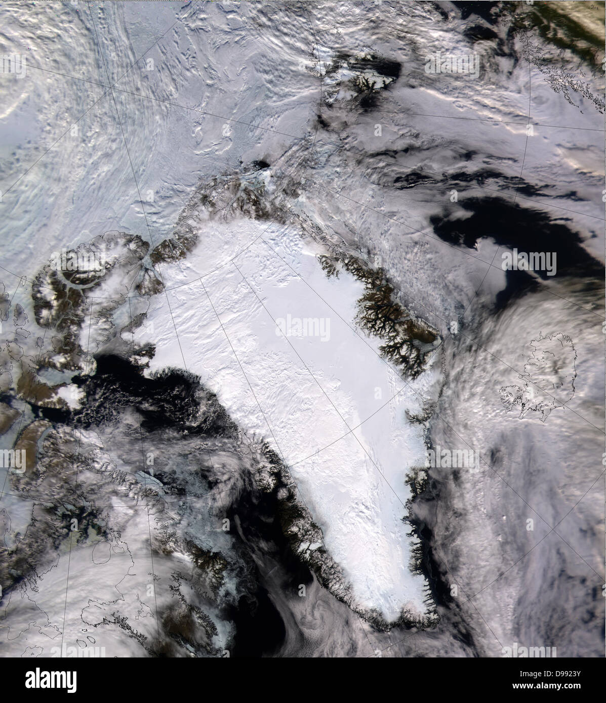 Satellite image of a snow and ice-covered Greenland in 2000. Credit NASA. - Stock Image