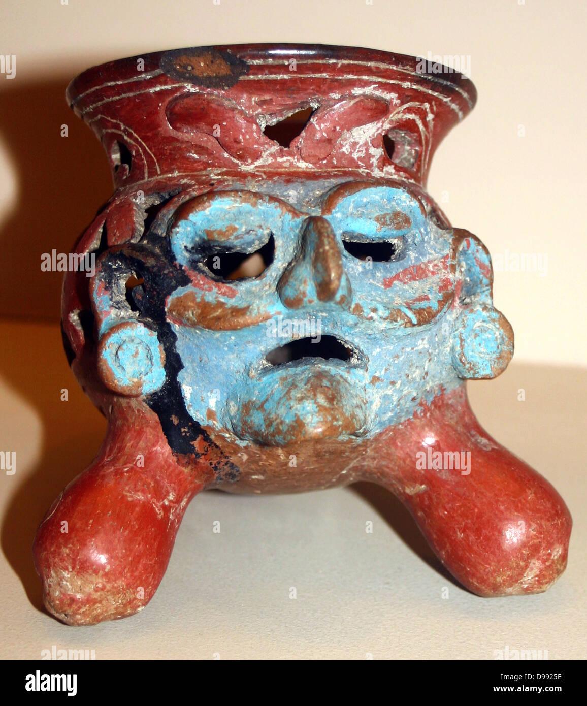 Pottery tripod incense burner Aztec AD 900-1521, - Stock Image