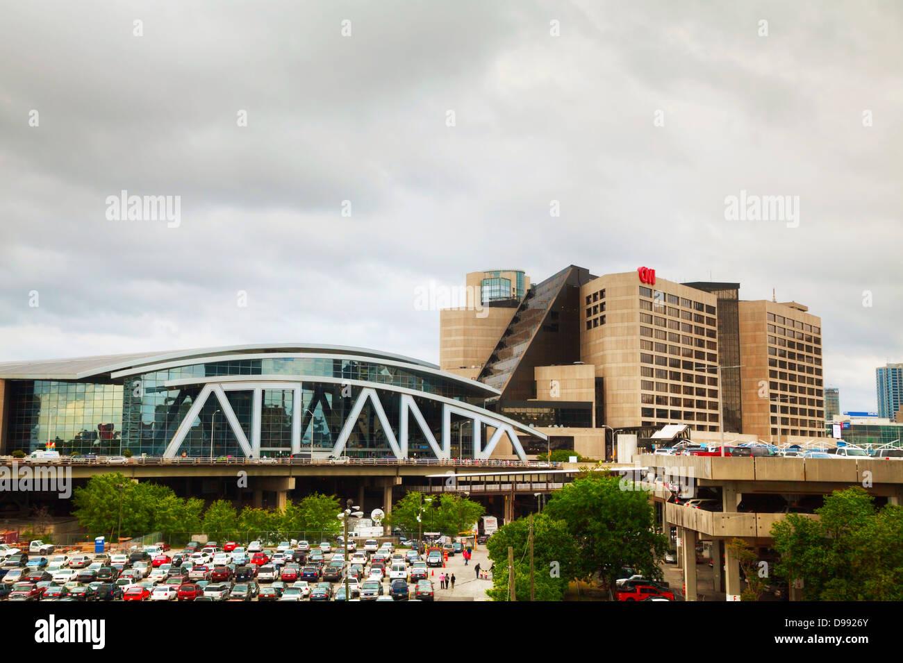 Philips Arena and CNN Center in Atlanta - Stock Image