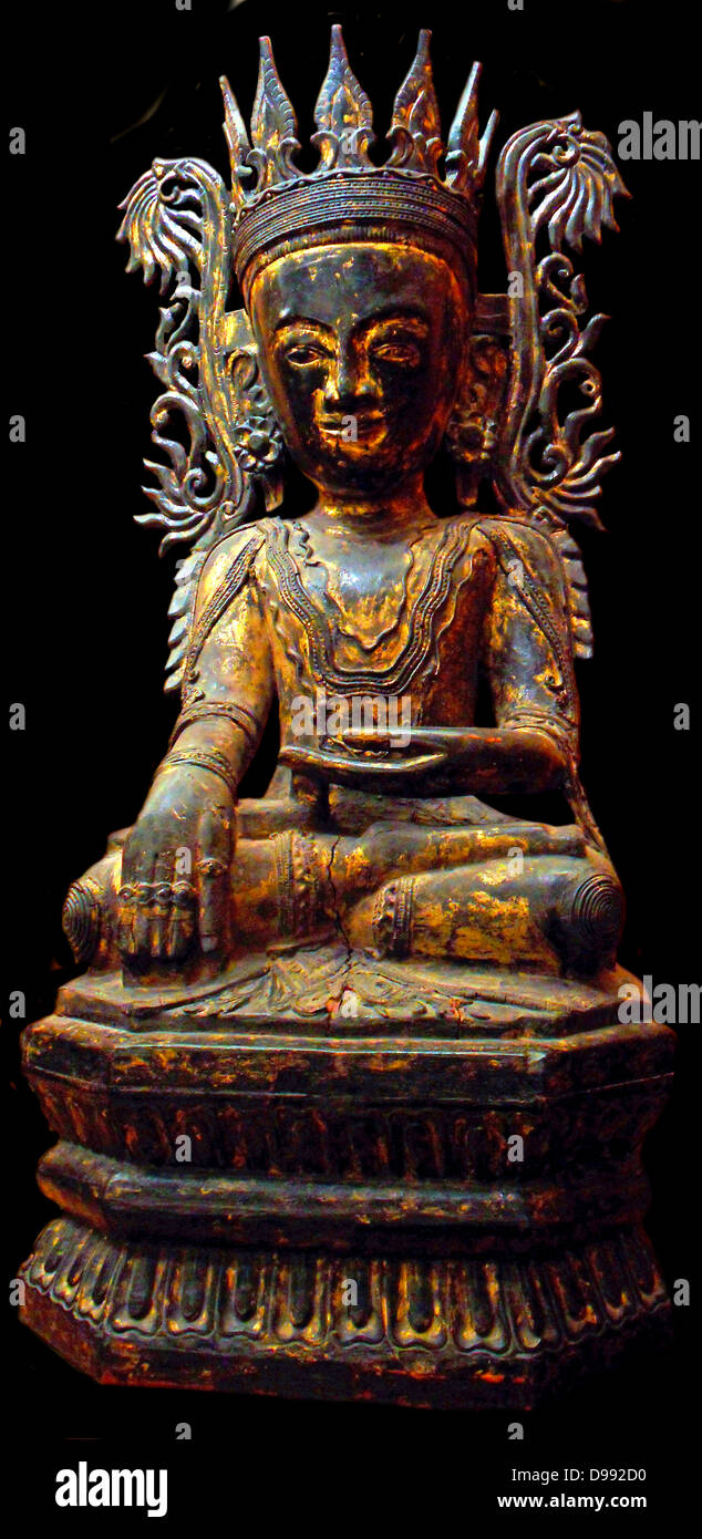 Buddha Maravijaya trimmed. Qualifier winner of the Buddha by the demon of temptation and death, Mara, and managed - Stock Image