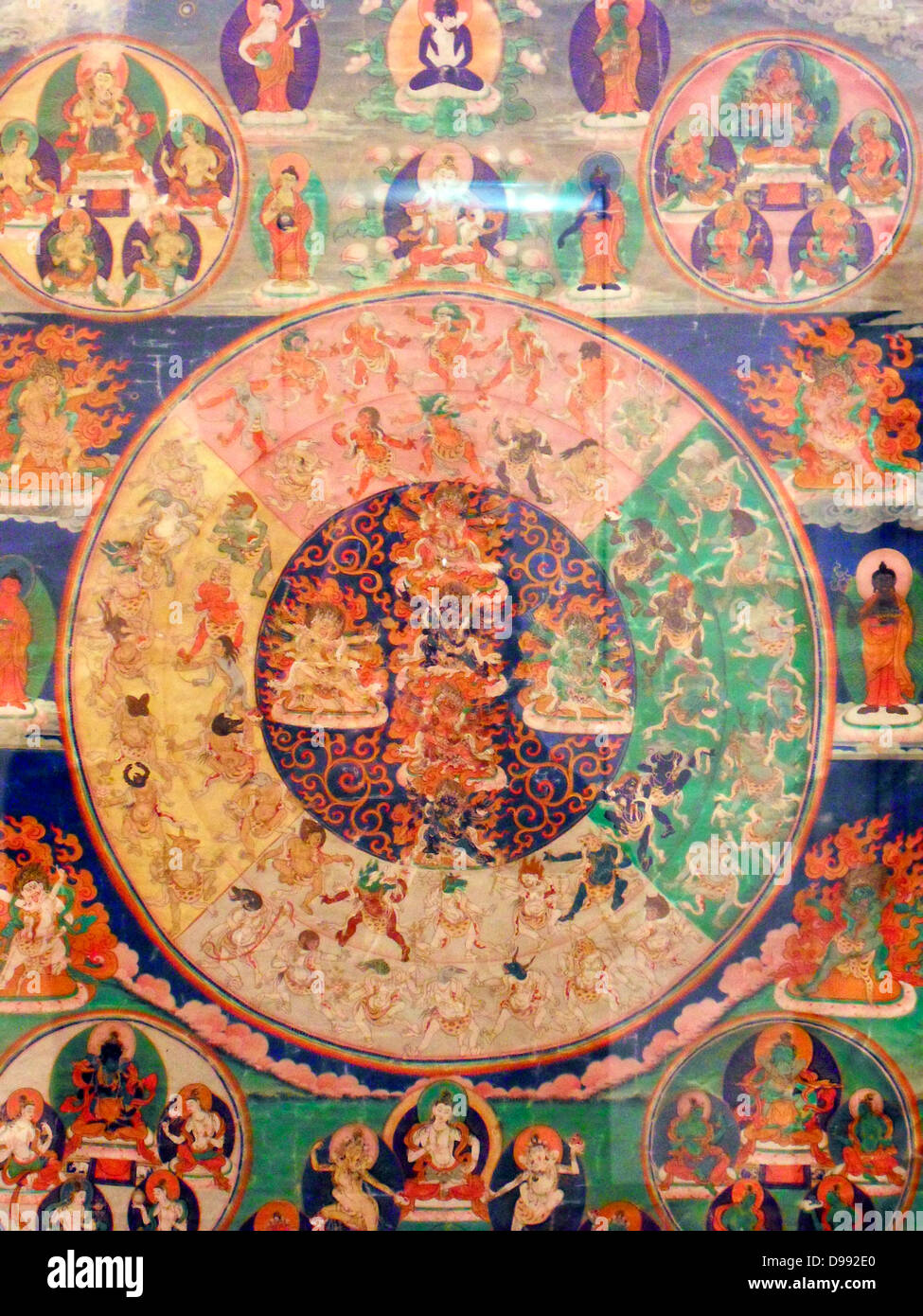 On this thanka deities gathered to look fierce apparraissent that the deceased during the bardo. 19th Mandala canvas Stock Photo