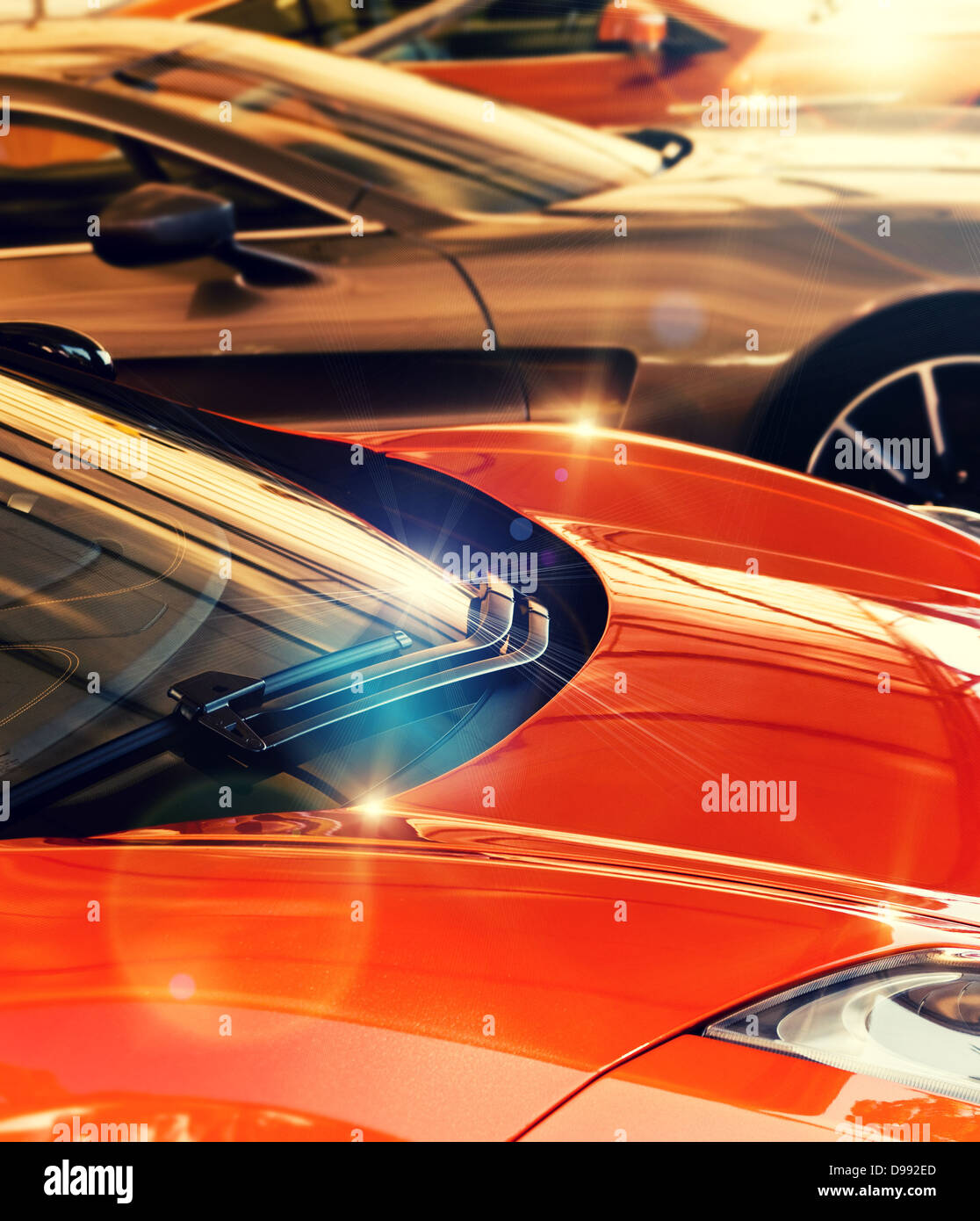 gleaming cars - Stock Image