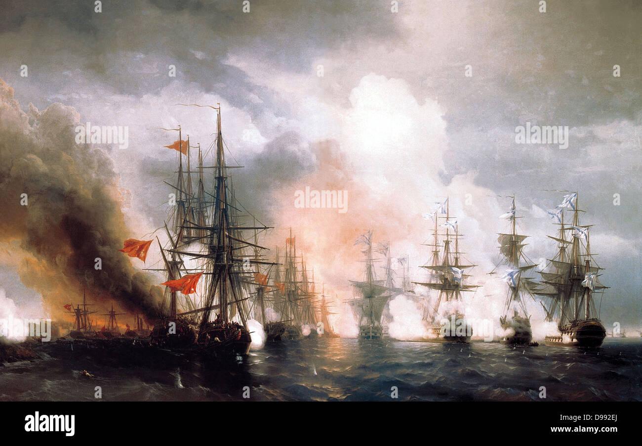 Russo Turkish War, also called Crimean War 1853 1856. Battle of Sinop or Sinope 30 November 1853. Naval battle off - Stock Image