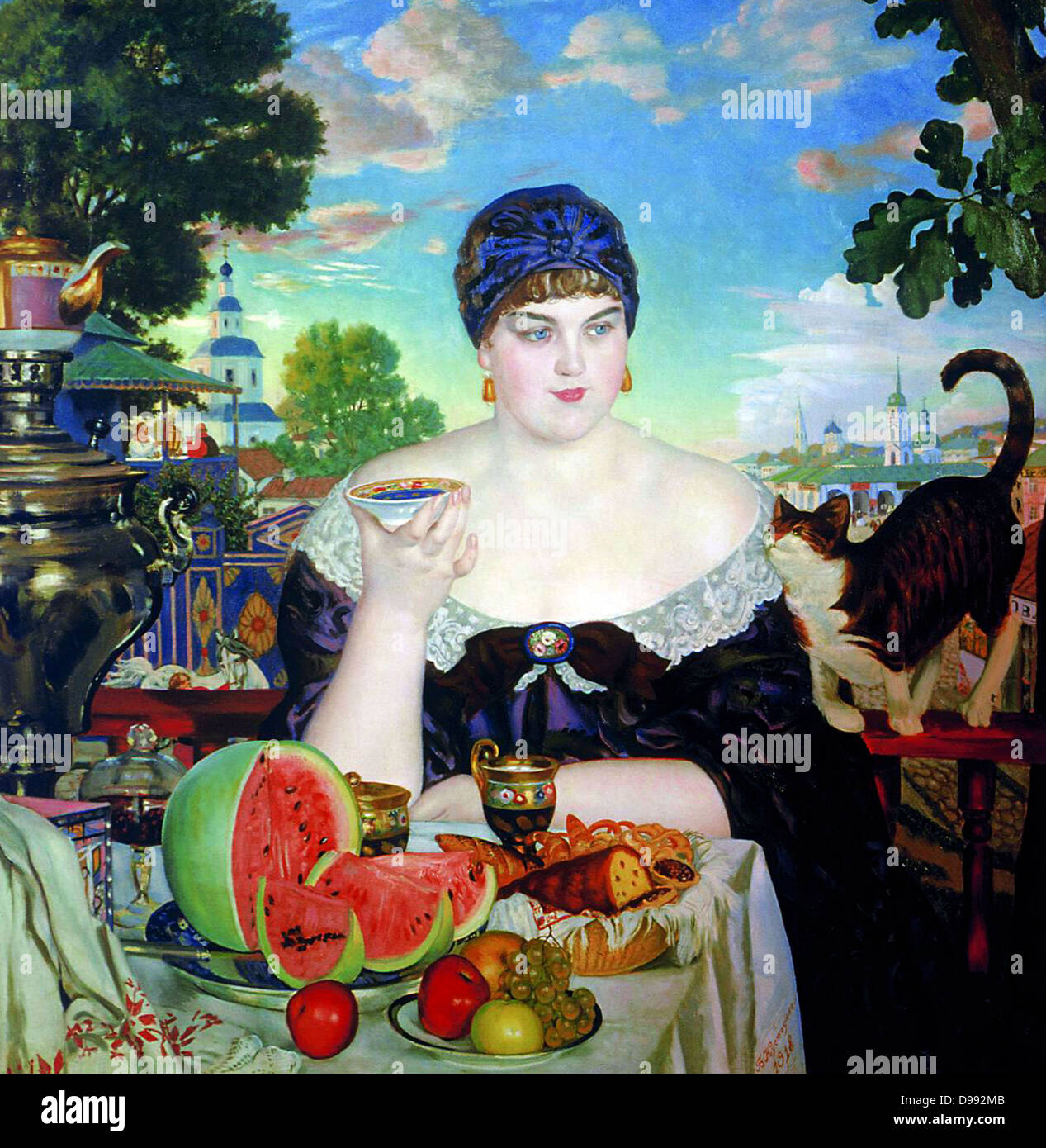 The Merchant's Wife', 1918. Oil on canvas. Boris Kustodiev (1878-1927) Russian painter and stage designer. - Stock Image