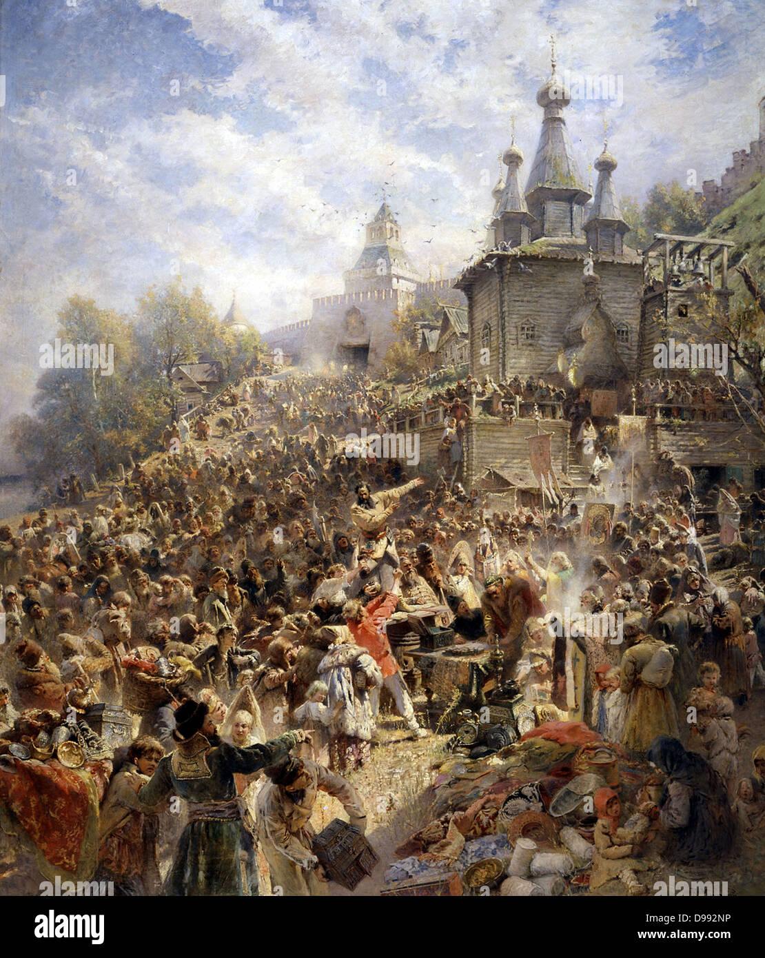 Minin's Appeal', 1896. Oil on canvas. Konstantin Makovsky (1839–1915) Russian artist. Kuzma Minin (d1616) - Stock Image