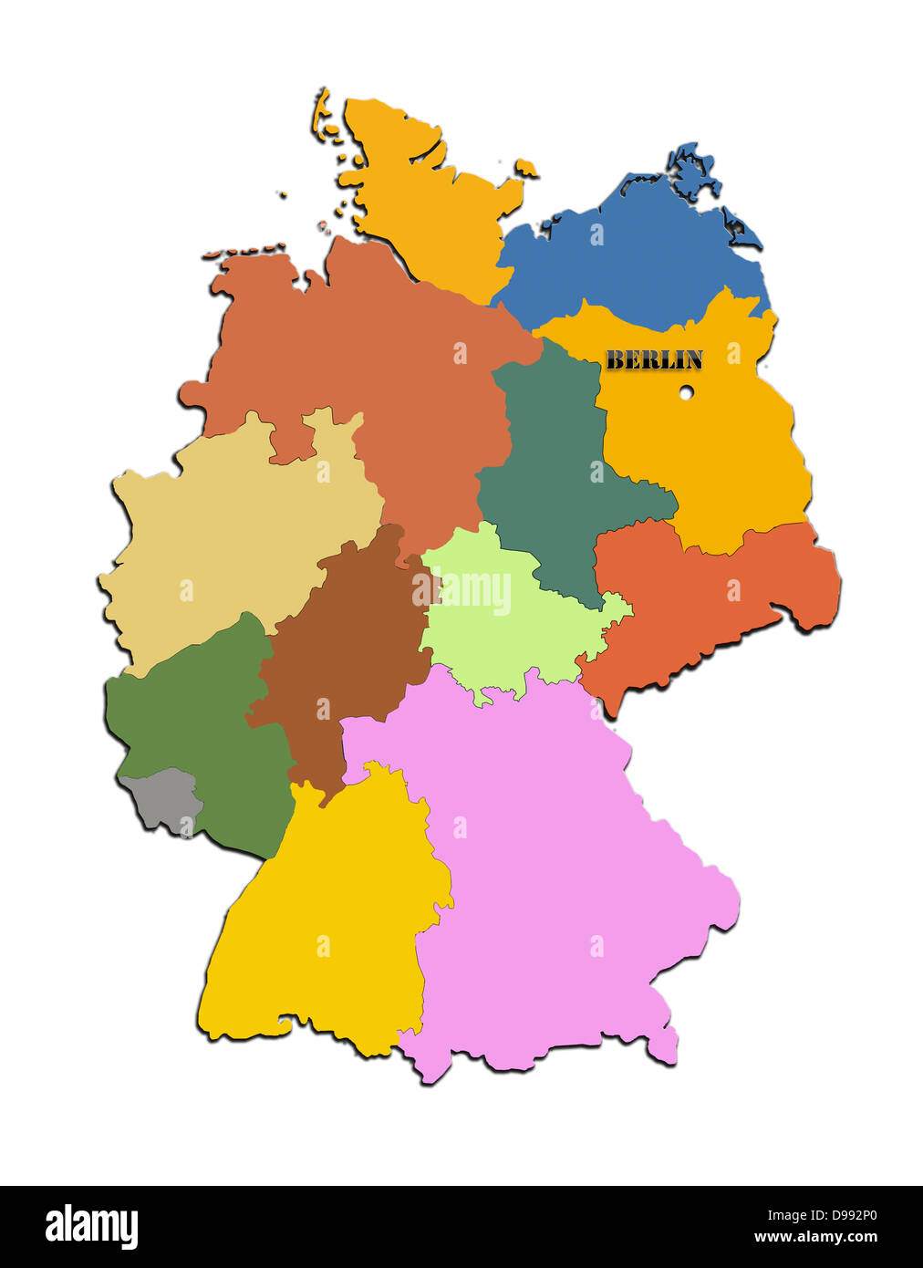 Coloured silhouette of the map of Germany - Stock Image