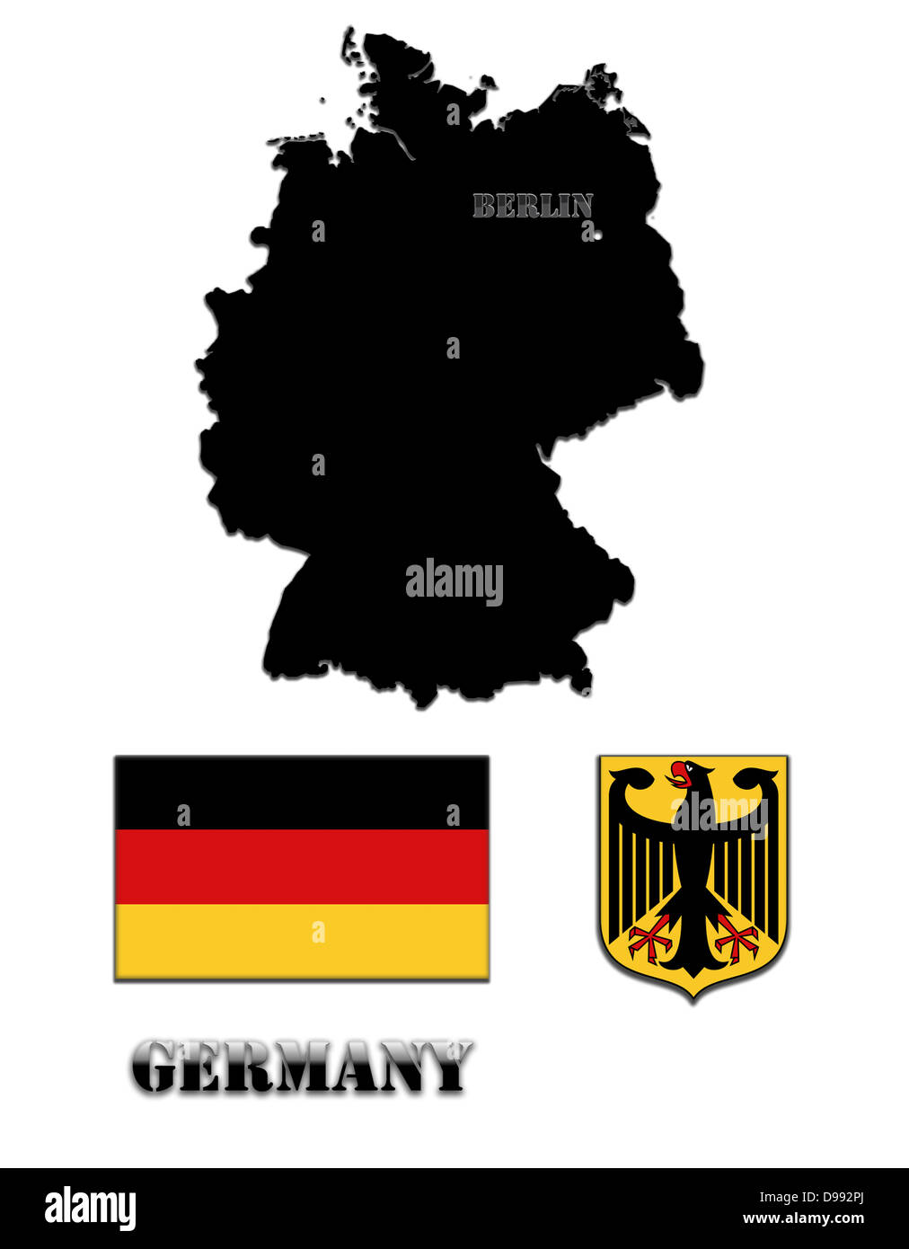 Coloured silhouette of the map and the herb of Germany - Stock Image