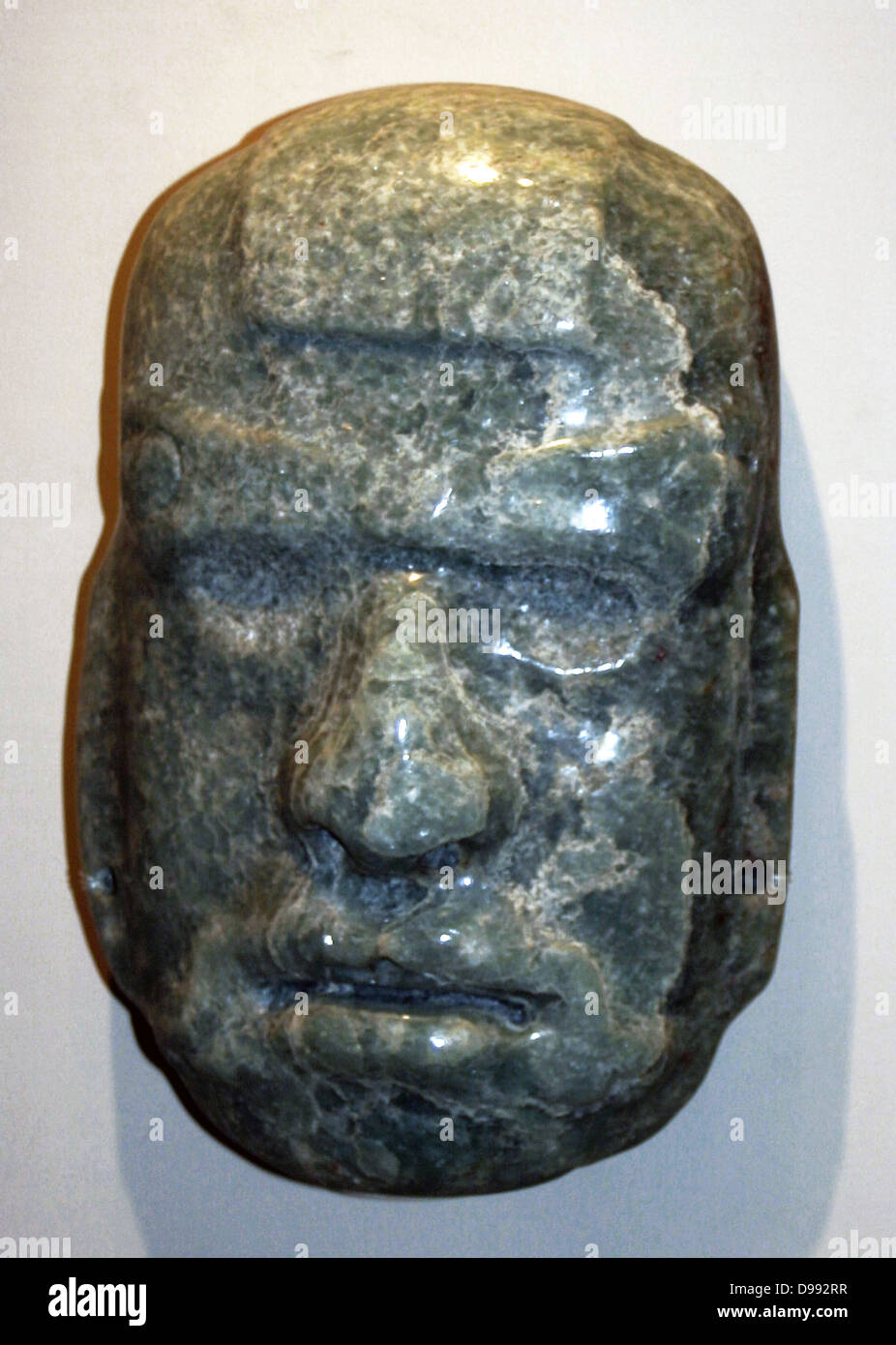 Jade mask of an anthropomorphic god, Mayan AD 50-300. Pre-Columbian Mesoamerican - Stock Image