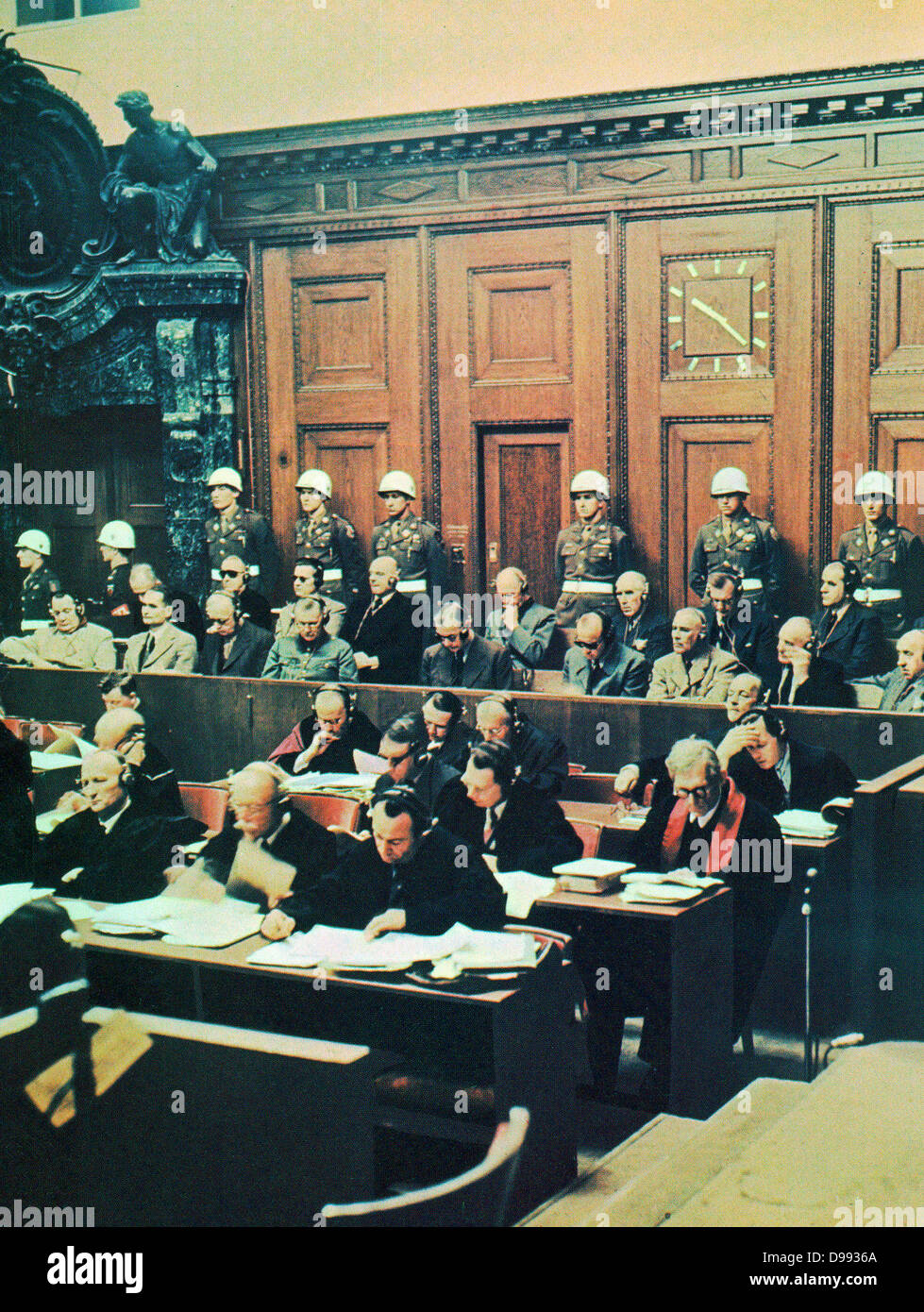 Nuremberg War Crimes trial 1946. defendants including leading Nazi politicians, Herman Goring and Rudolf Hess - Stock Image