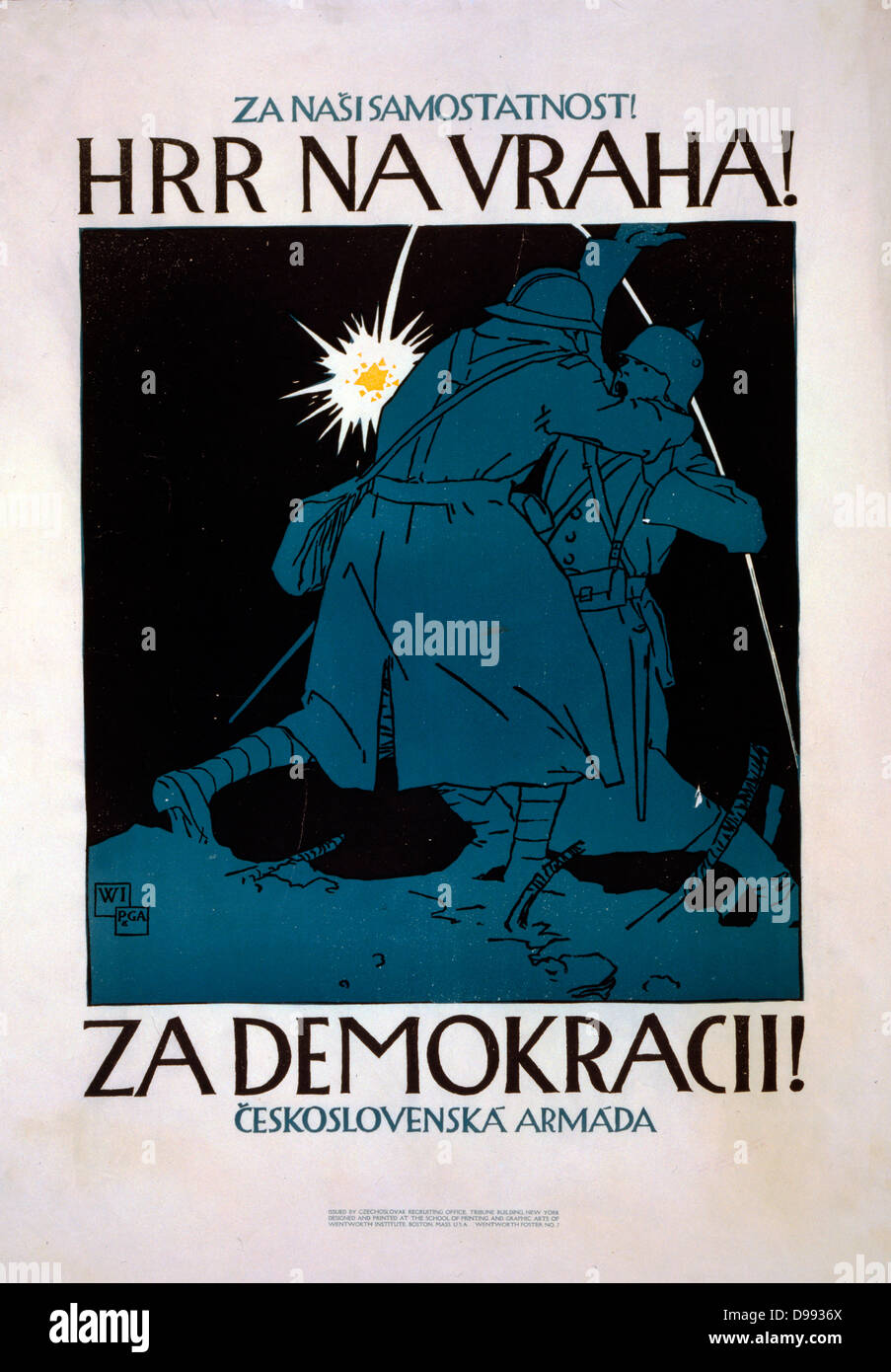 Czechoslovak Propaganda posterbin World War I. 1918 - Stock Image