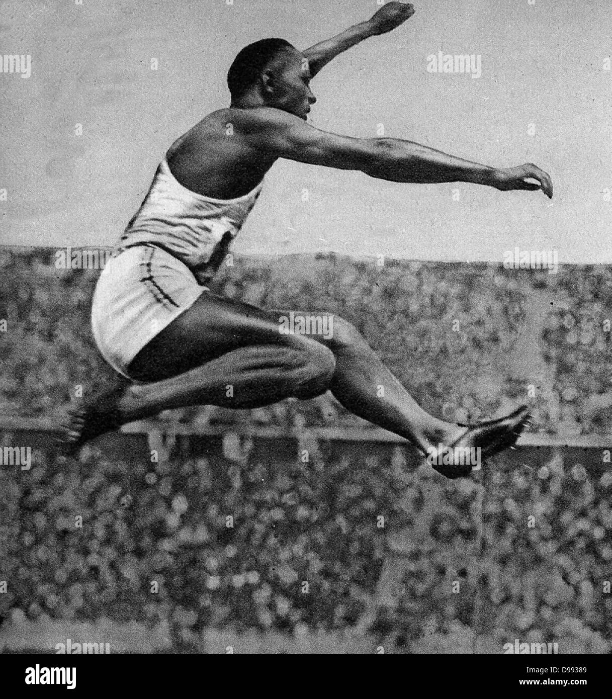 Jesse Owens (1913 – 1980) American track and field athlete. He participated in the 1936 Summer Olympics in Berlin, - Stock Image