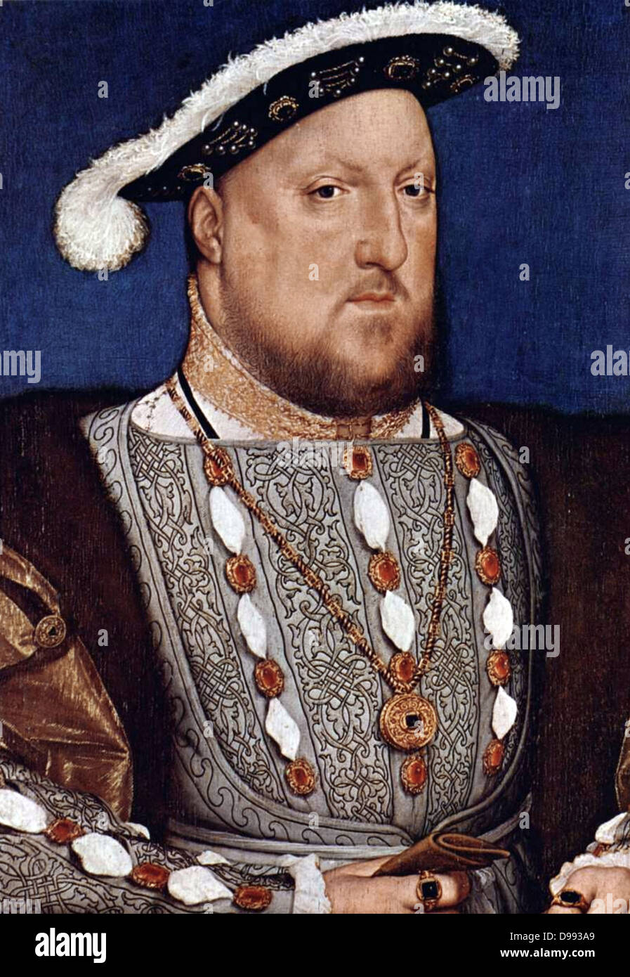 Portrait of Henry VIII. By Hans Holbein Date c. 1536/37. Henry VIII (28 June 1491 – 28 January 1547) was King of - Stock Image
