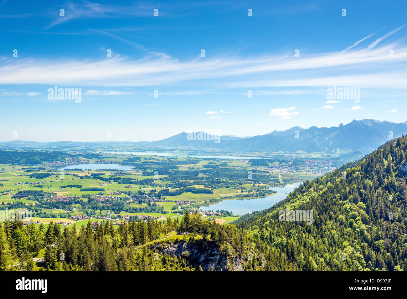 Views of the Allgäu region of Bavaria on villages, mountains, lakes, meadows and forests Stock Photo