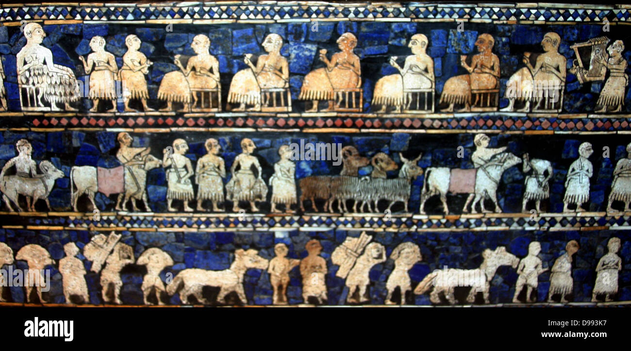 The Peace frieze from the Standard of Ur. Sumerian artefact excavated from the Royal Cemetery in Ur (located in - Stock Image
