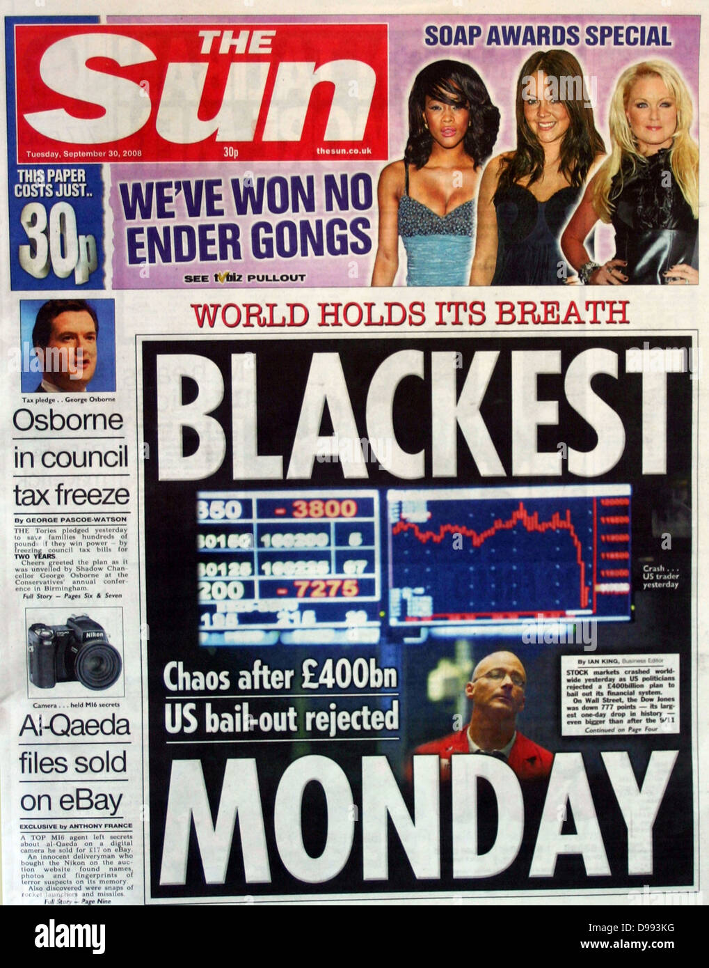Front page of 'The Sun' newspaper 30th September 2008. Lead story is the collapse of stock market values - Stock Image