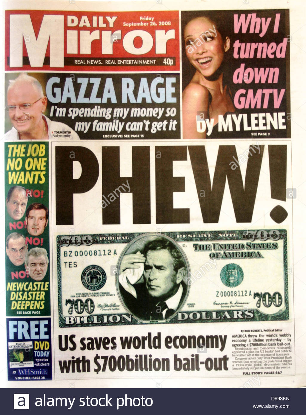 Front page of 'The Mirror' newspaper 26th September 2008. Lead story is the collapse of stock market values - Stock Image