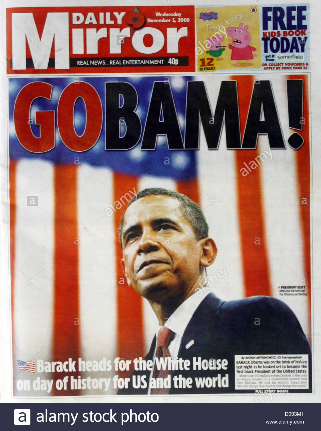 Front page of the 'Mirror' newspaper 5th November 2008. Lead story is the election of Barak Obama as United - Stock Image