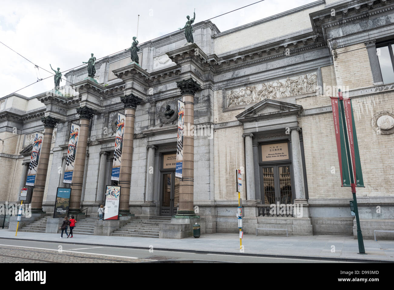 BRUSSELS, Belgium - The front of the building of the Royal Museums of Fine Arts in Belgium (in French, Musées - Stock Image