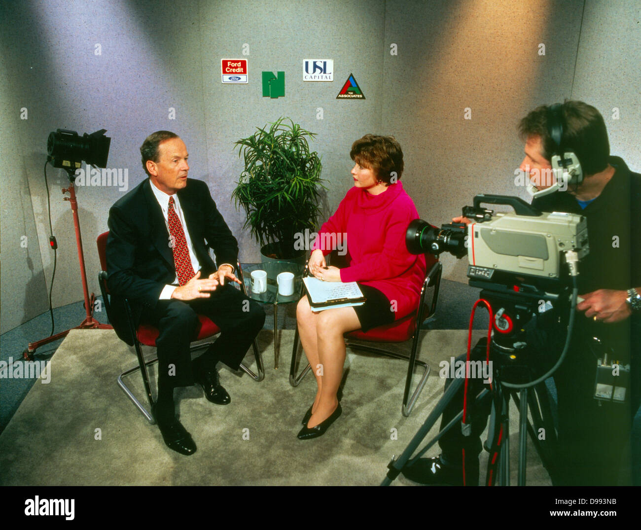 American, Television studio showing an interview in the 1970's - Stock Image