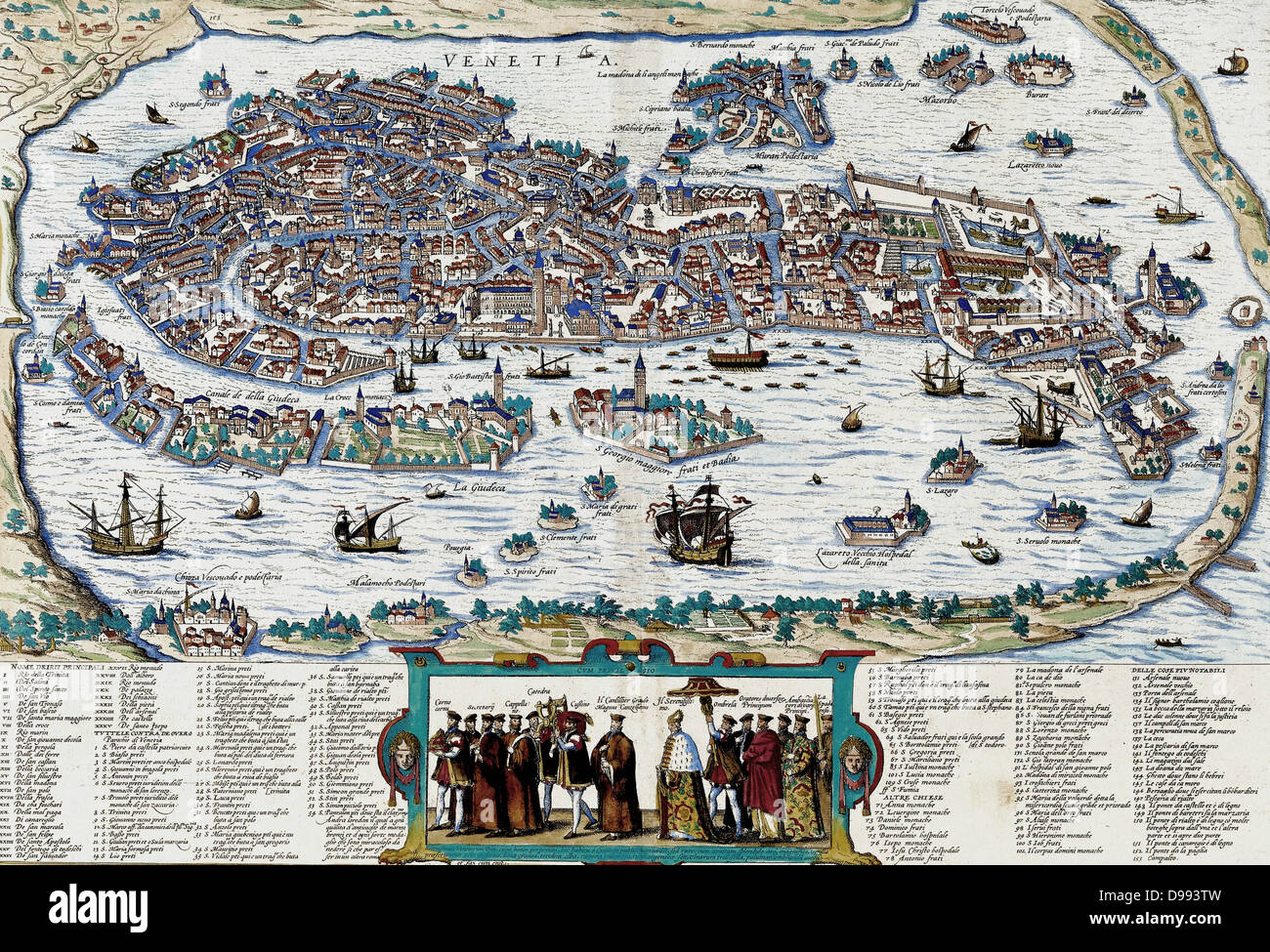 Venice depicted with a procession by the Doge of Venice, circa 17th Century. - Stock Image