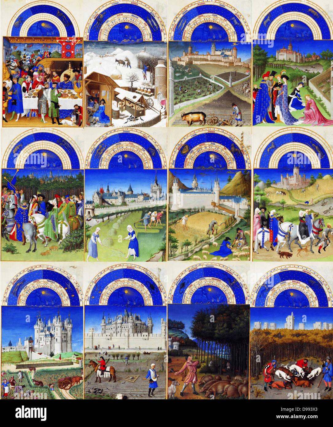 Labours of the months 'Très Riches Heures 1413-1416, the Duc de Berry. Illumination on parchment, Chantilly, - Stock Image