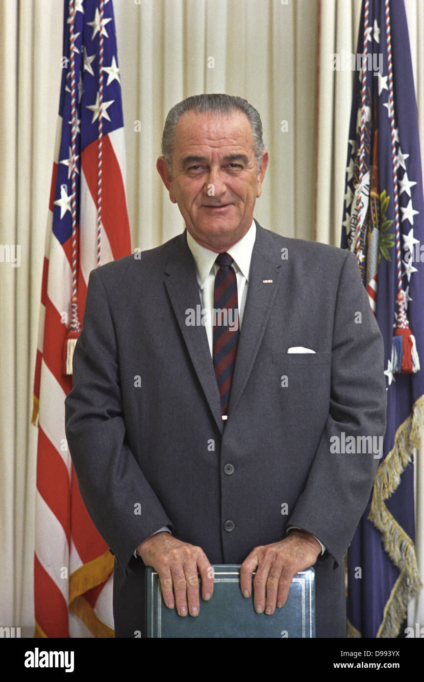 Lyndon Baines Johnson (1908 – 1973), referred to as LBJ, served as the 36th President of the United States from - Stock Image