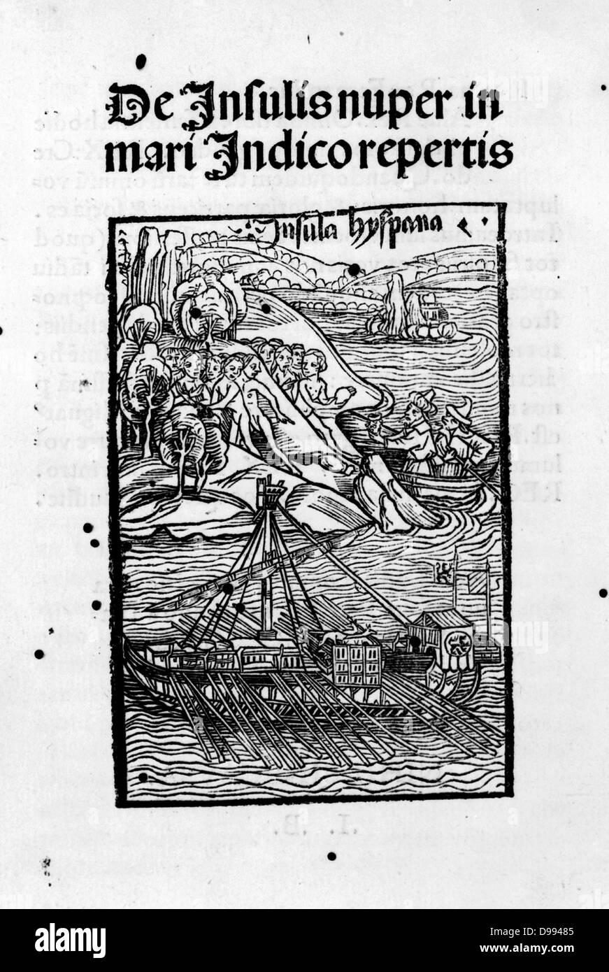 De insulis nuper in Mari Indico repertis de insulis nuper inventis by Carlo Verardi 1440-1500. Published 1494. woodcut - Stock Image