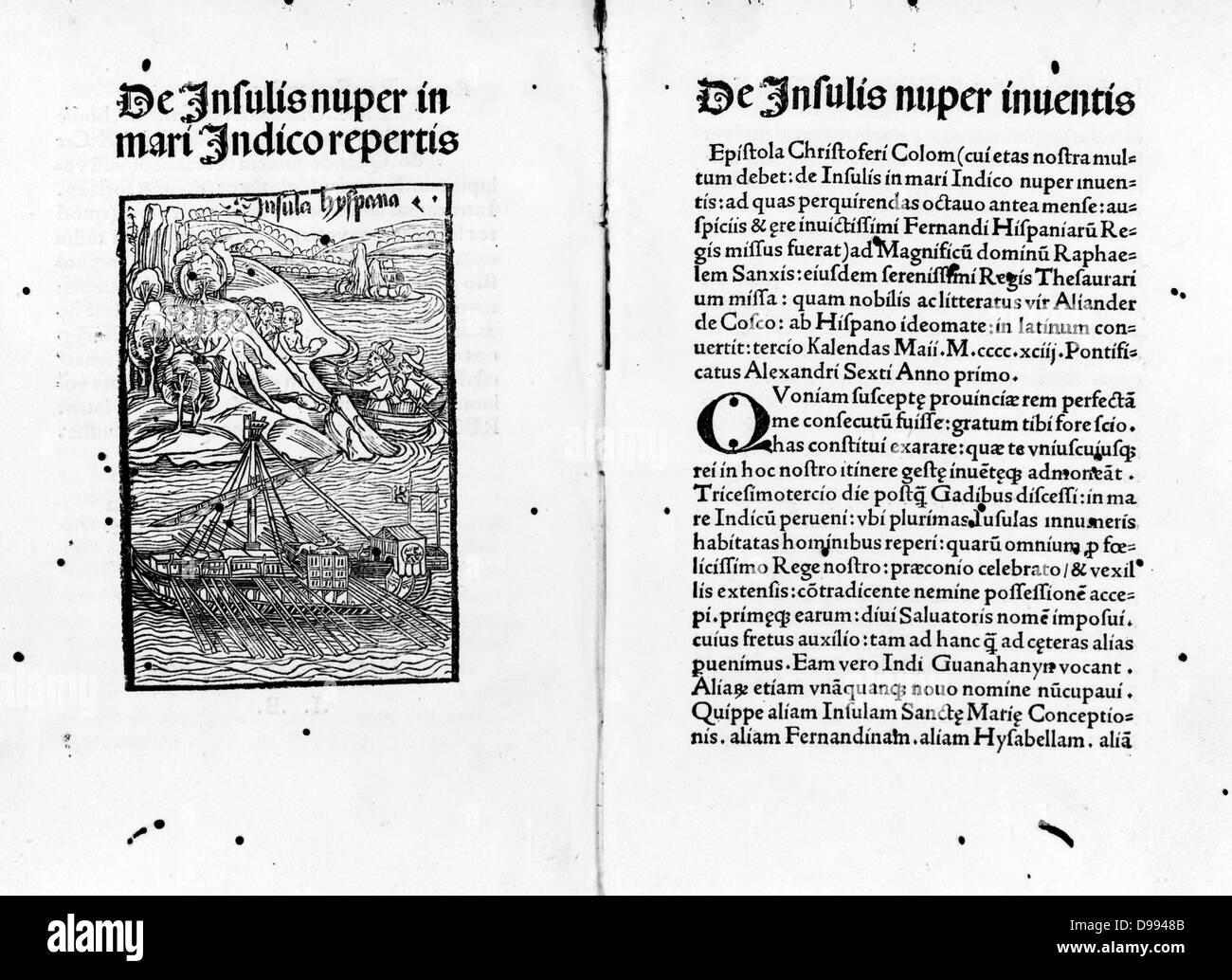 De insulis nuper in Mari Indico repertis [and] de insulis nuper inventis Illustration by Carlo Verardi, 1440-1500. - Stock Image
