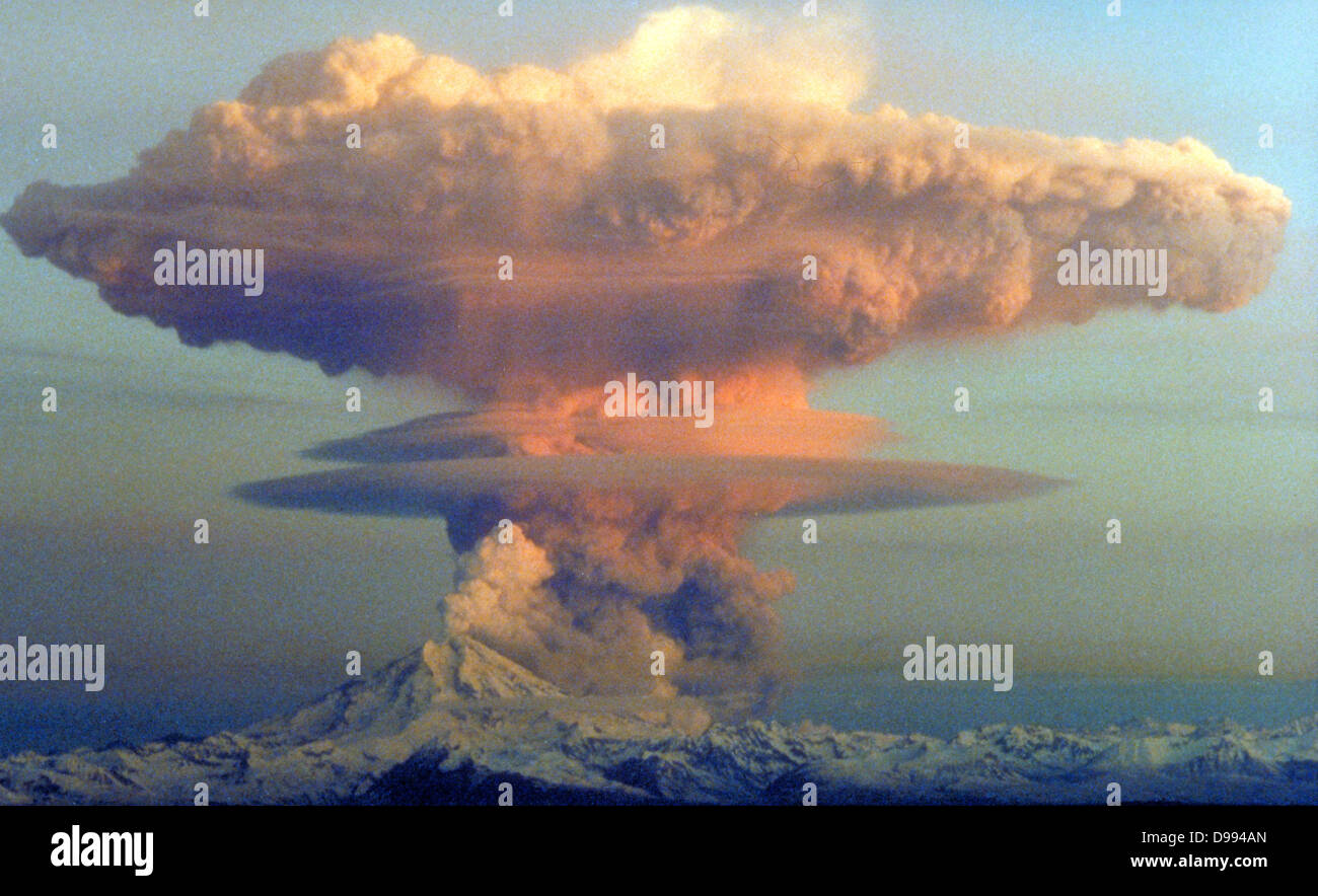 Mount Redoubt eruption (April 21st, 1990) - Stock Image