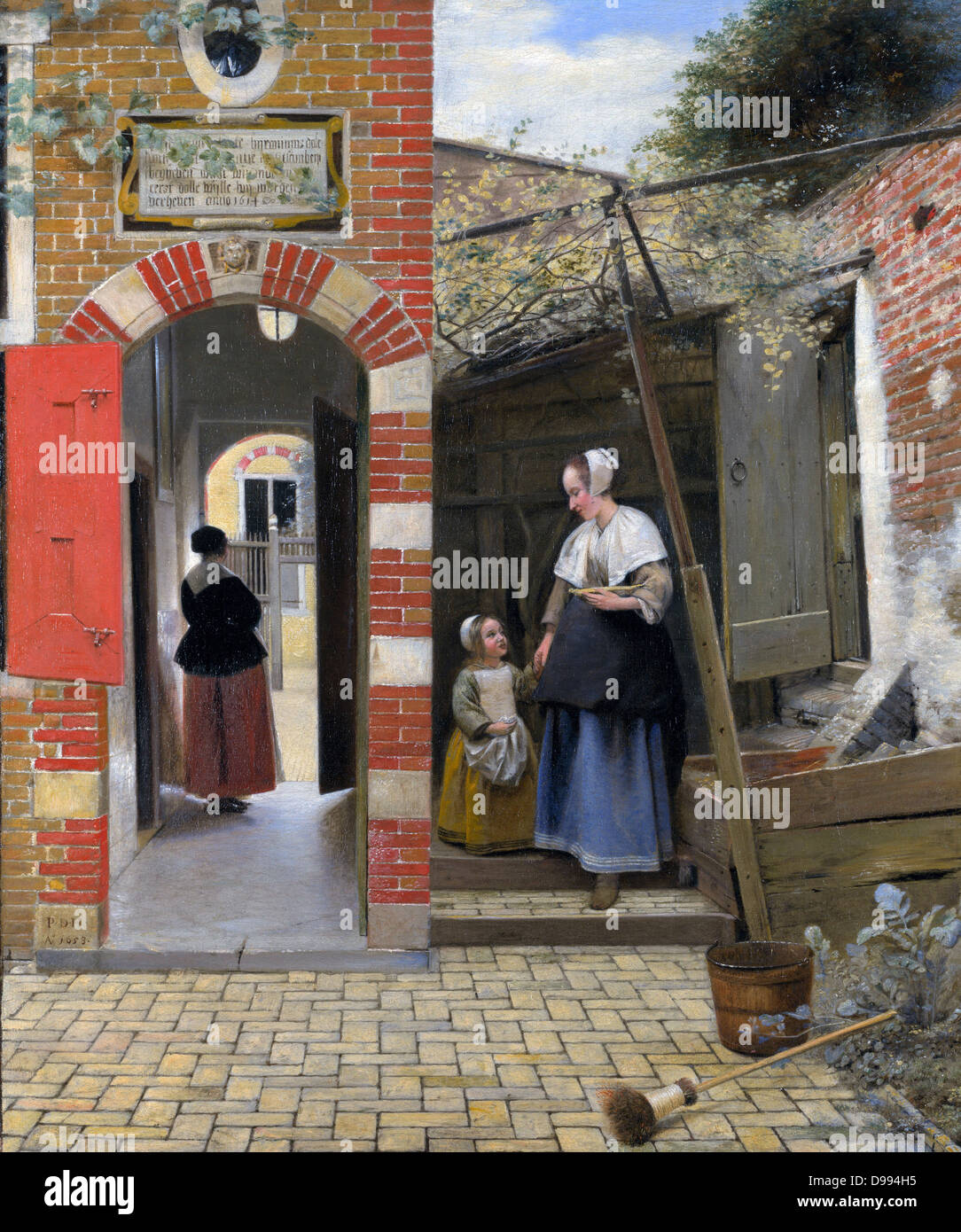Pieter de Hooch (1629 – 1684) was a genre painter during the Dutch Golden Age. The Courtyard of a house in Delft - Stock Image
