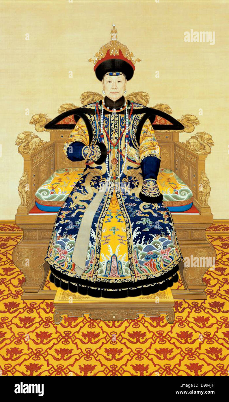 Portrait of the Xiaosheng Empress Dowager, Qianlong period, 1751, by anonymous The Palace Museum, Beijing. - Stock Image