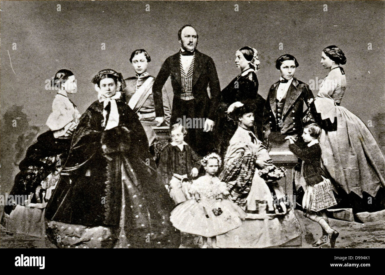 Prince Albert (Prince Consort) with Queen Victory and their Children. - Stock Image
