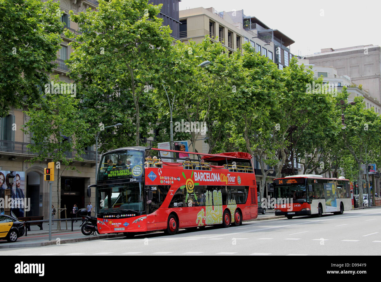Tourist bus in Barcelona. - Stock Image
