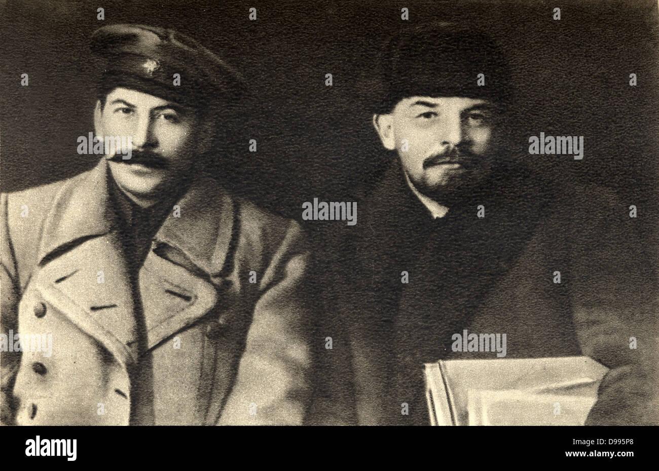 Vladimir Lenin and Joseph Stalin together in 1919 - Stock Image