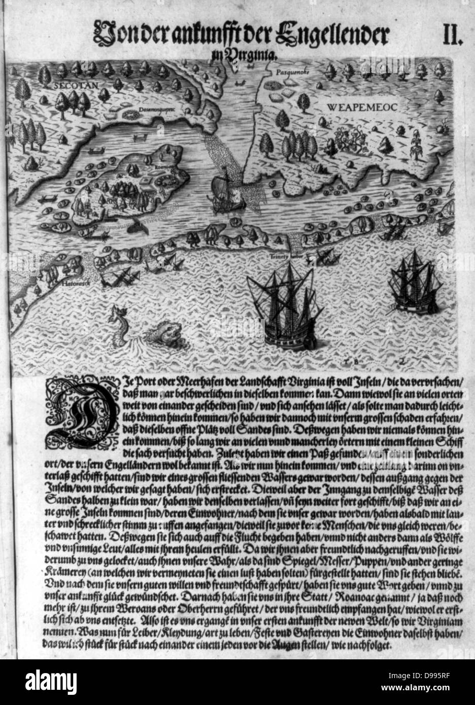 The Colony of Virginia depicted in a book with Map. 17th Century. - Stock Image