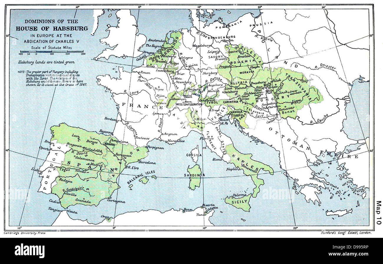 Map showing the Habsburg Empire at the time of Charles V Mid 16th Century - Stock Image