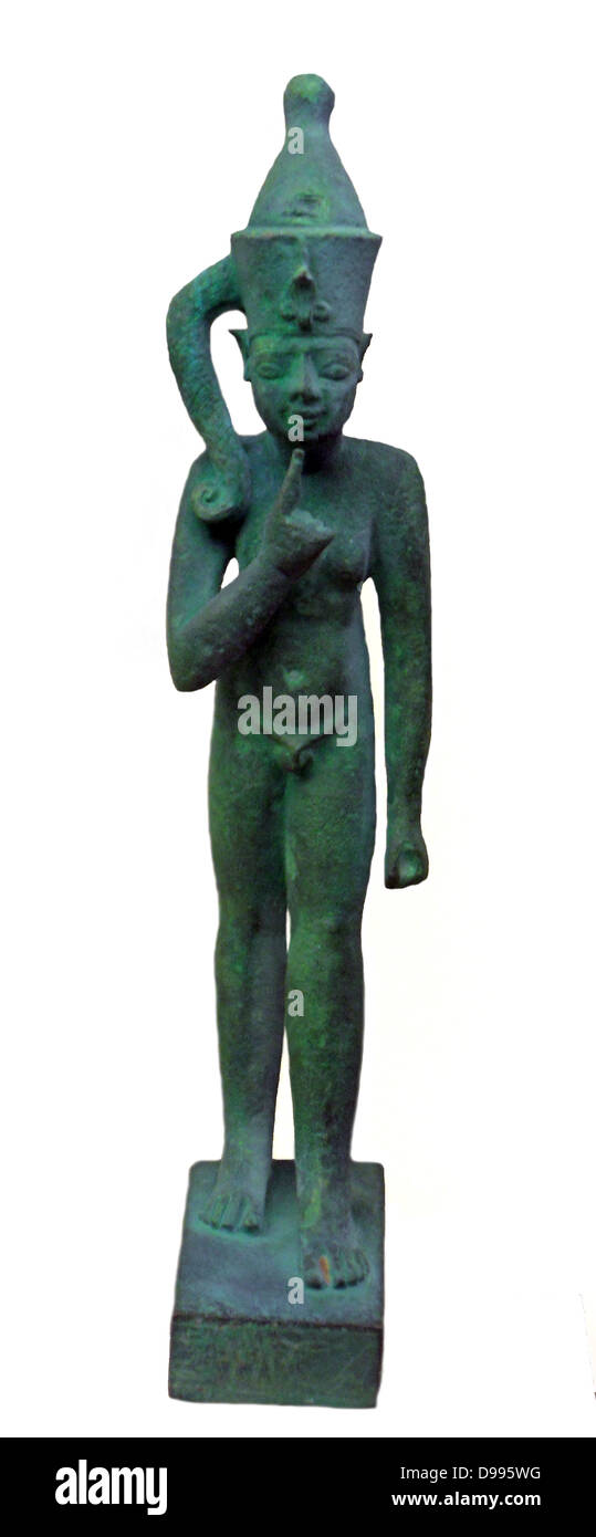 Bronze figure of a Pharaoh.  Late period 600-100 BC - Stock Image