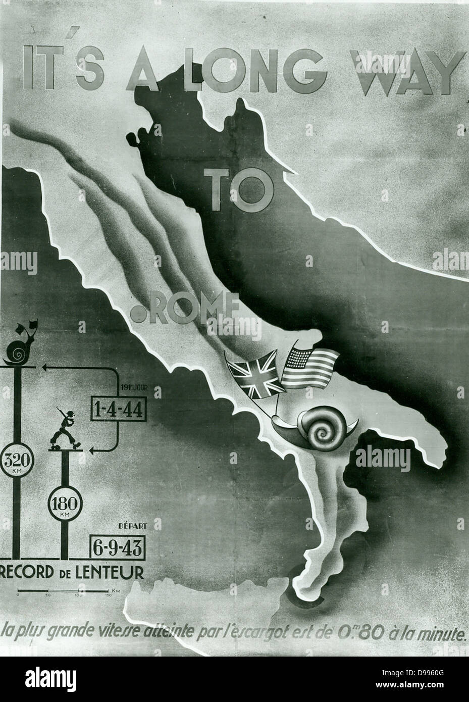 propaganda poster depicting the allied advance in Italy 1944 - Stock Image