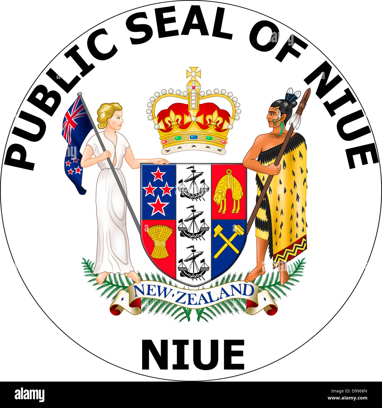 Seal of the island Niue in the South Pacific Ocean. - Stock Image