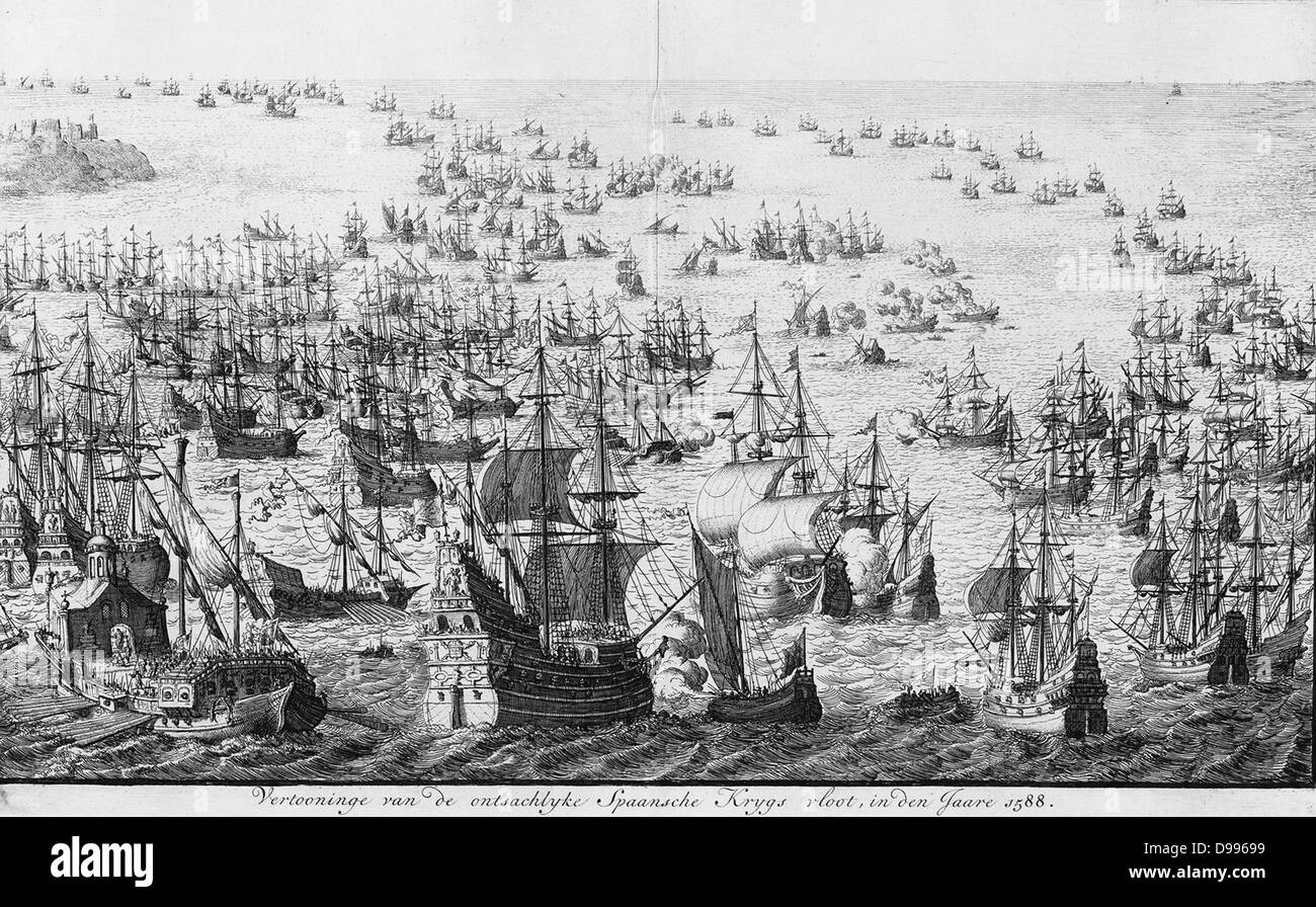 The mighty display of the Spanish armada in 1588.    Source Amsterdams Historisch Museum. A46643   Date 1679(1679) - Stock Image