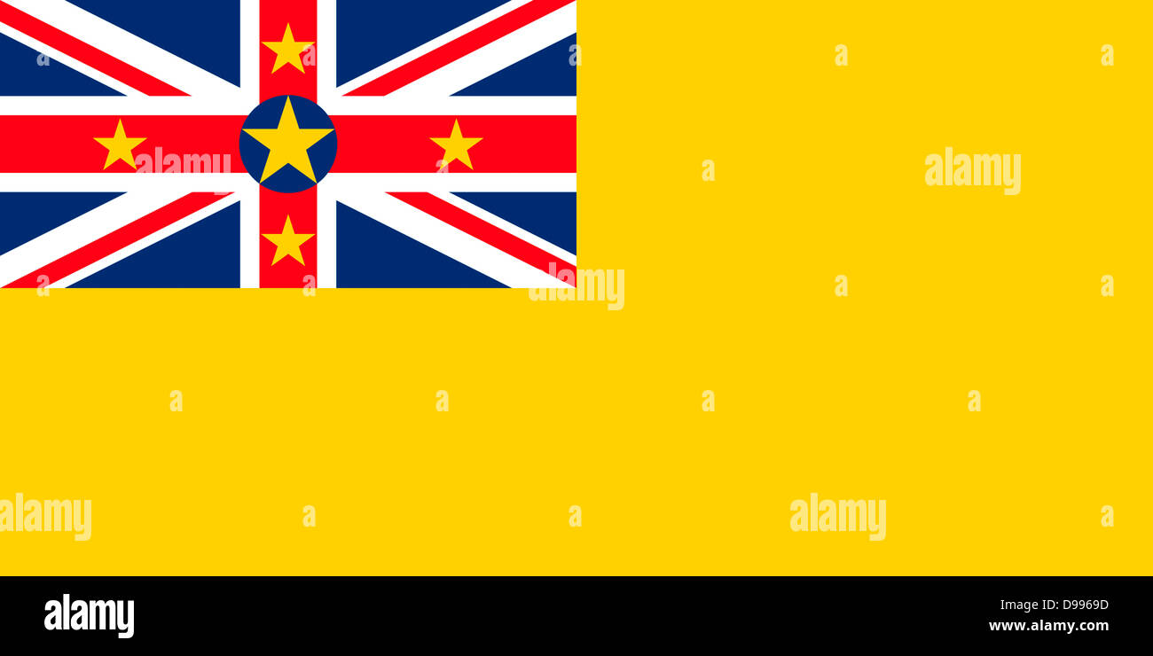 Flag of the island Niue in the South Pacific Ocean. - Stock Image