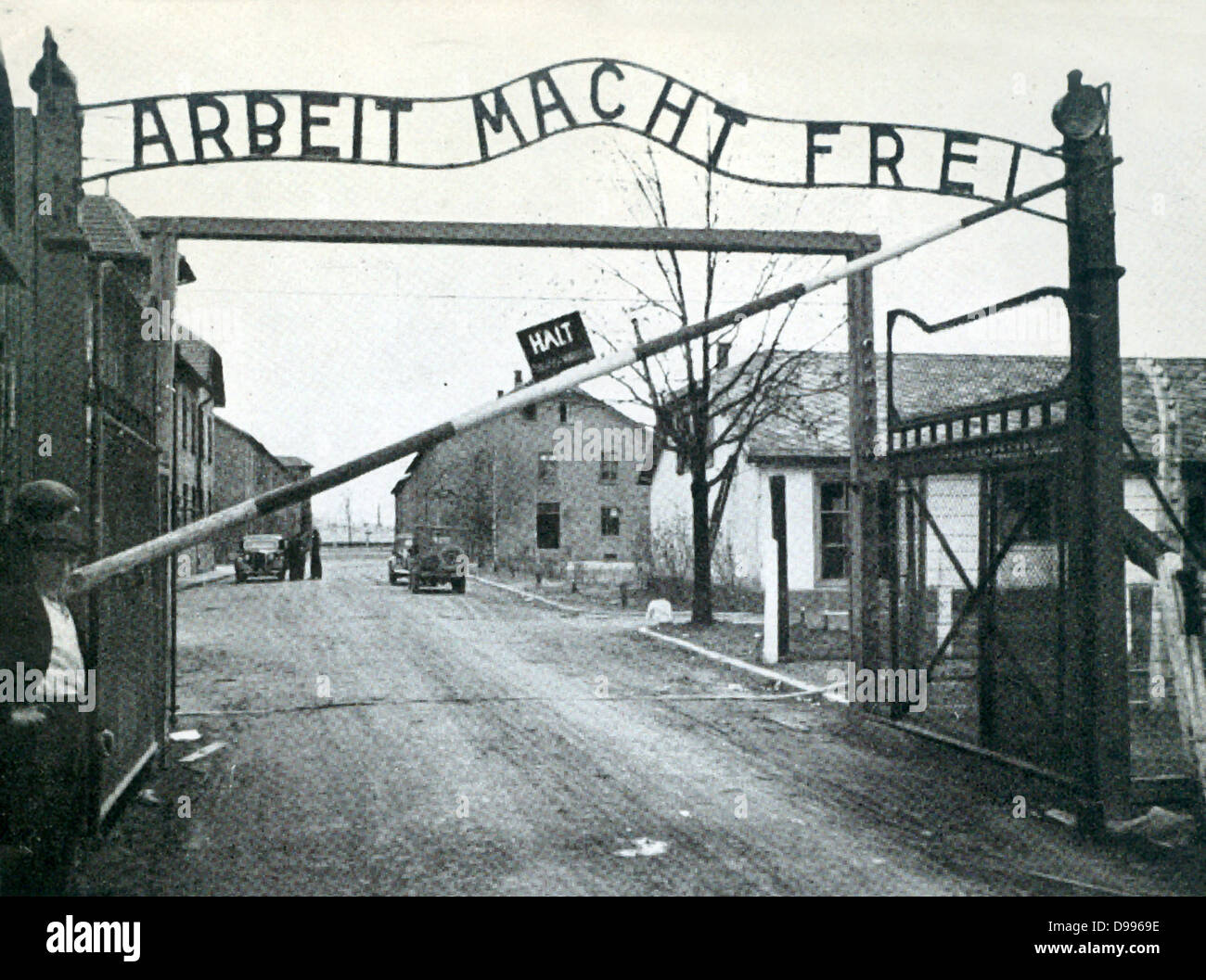 The main gateway of Auschwitz Concentration Camp. - Stock Image