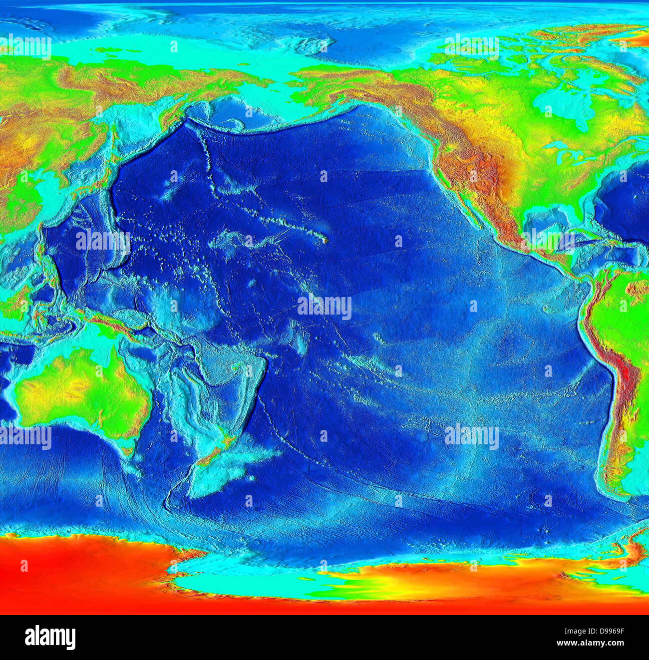 The Pacific is ringed by many volcanoes and oceanic trenches - Stock Image