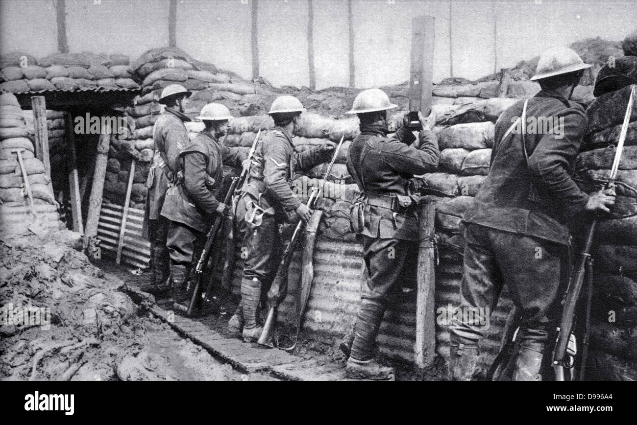 Canadian infantry in the trenches ready to repel an attack. - Stock Image
