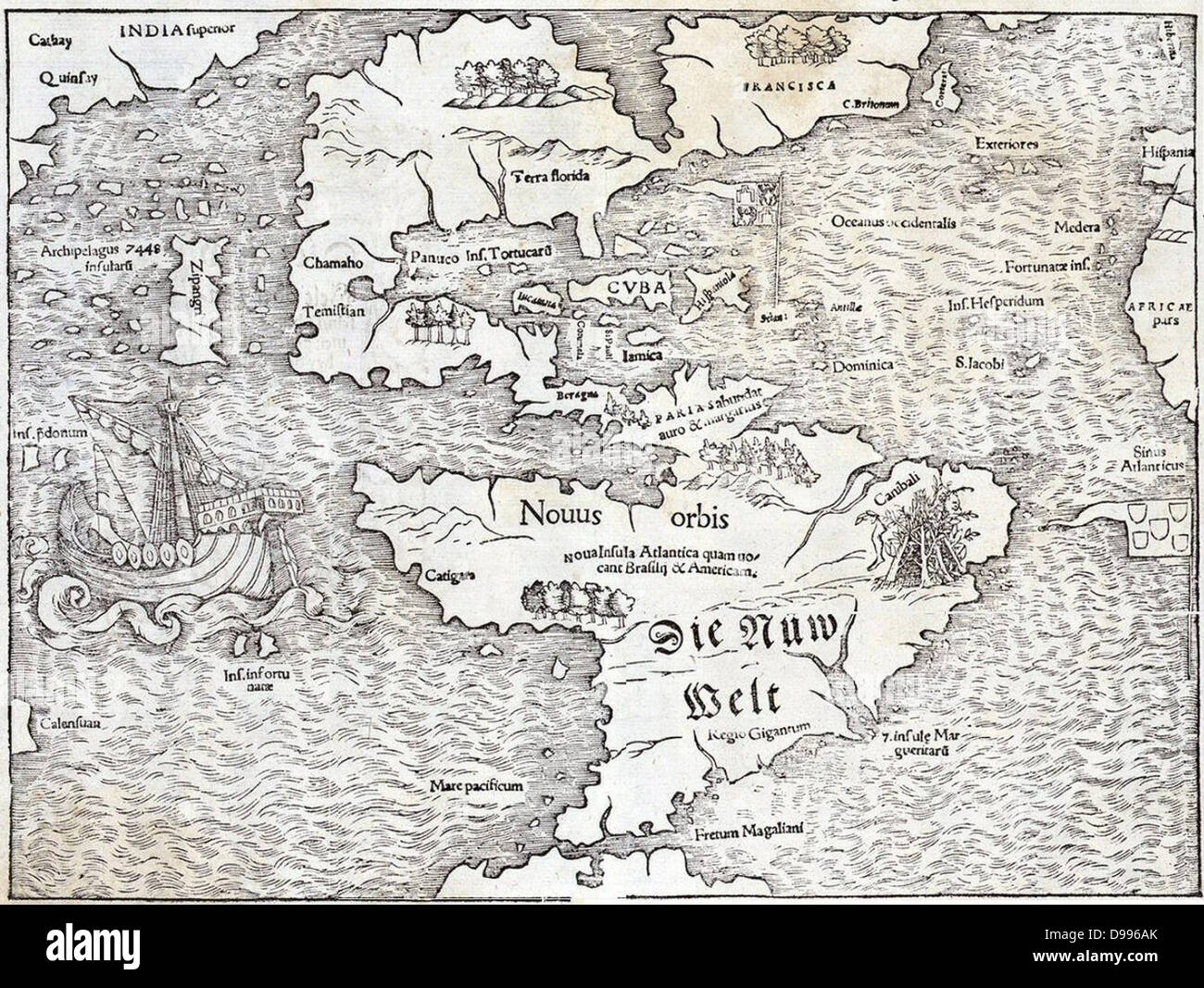 Map of the New World by Sebastian Munster, 1540, showing the name 'Atlantis Island' - Stock Image