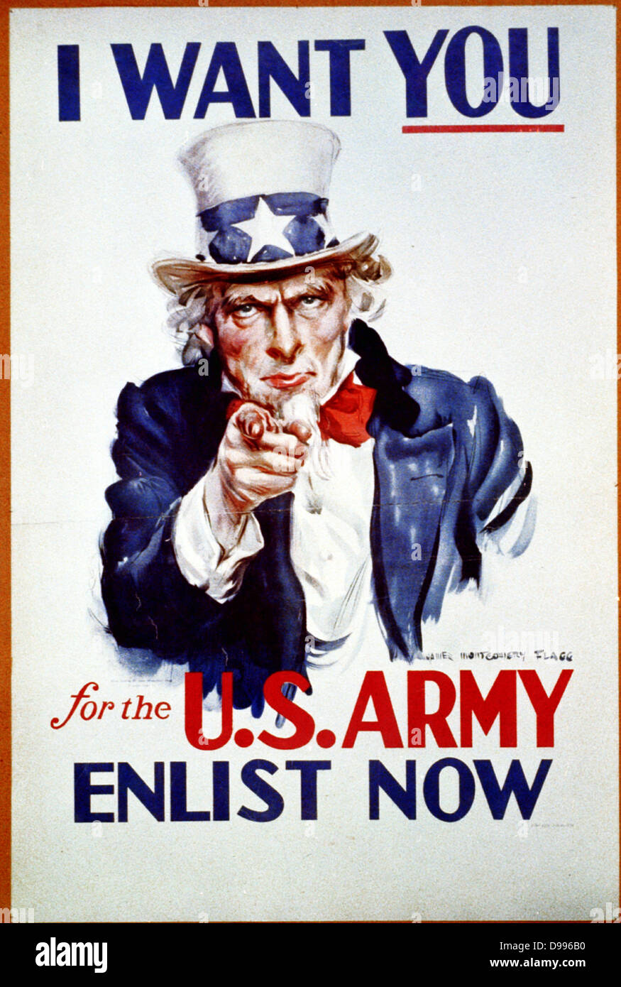 I want you for the U.S. Army 1941. (poster)'I want you' is above Uncle Sam, 'for the U.S. Army, Enlist - Stock Image