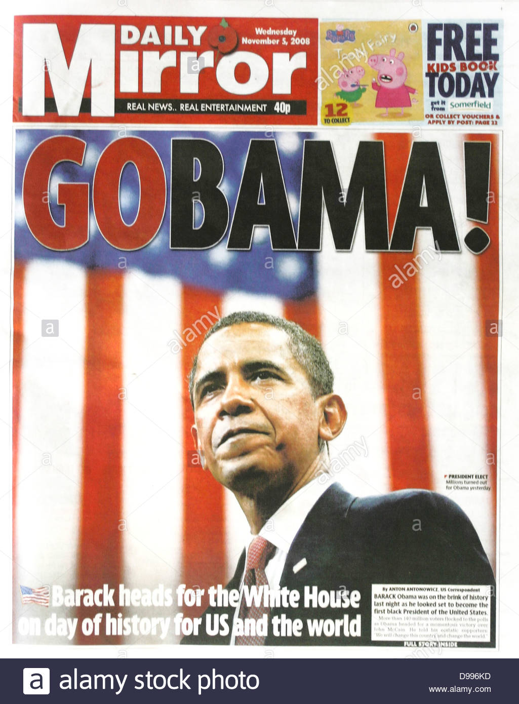 Daily Mirror English Newspaper Headline On Election Of Barak Obama As President In 2008