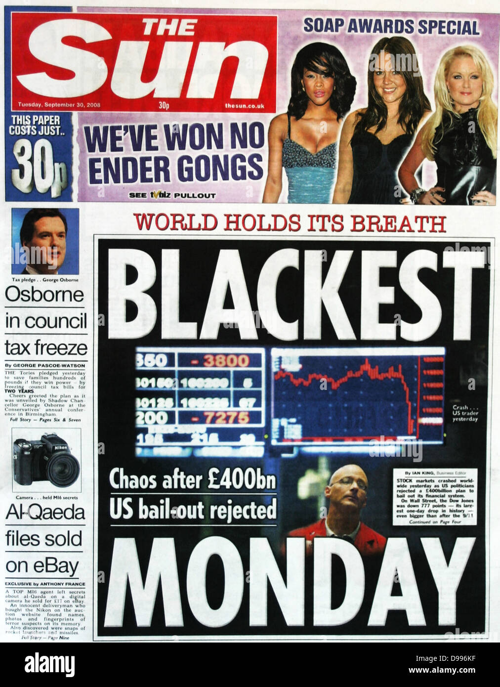 The Sun (English newspaper) headline on collapse of stock market and Financial institutions in September 2008 - Stock Image