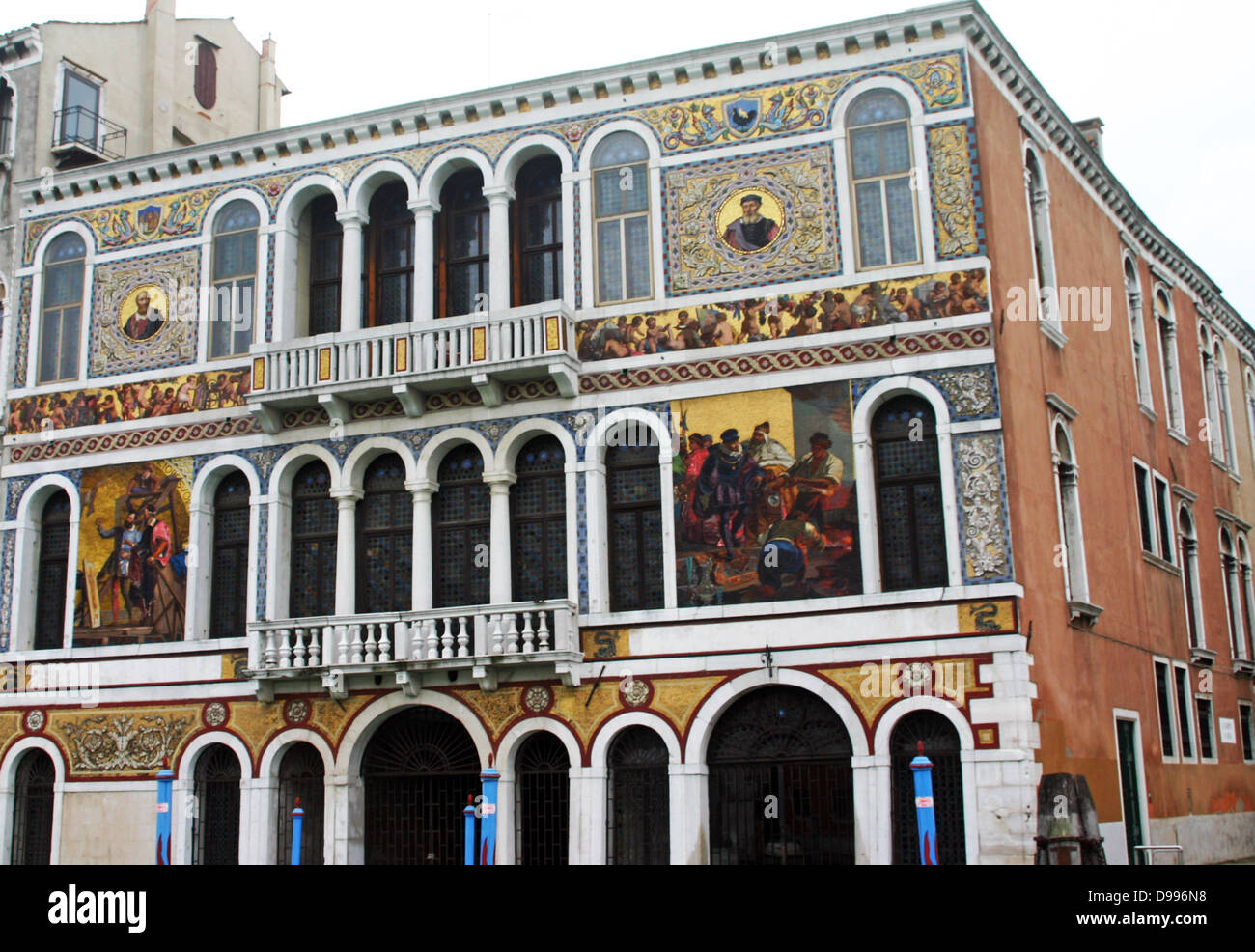 Facade of a sixteenth century Pallazio on the Grand Canal in Venice, Italy - Stock Image
